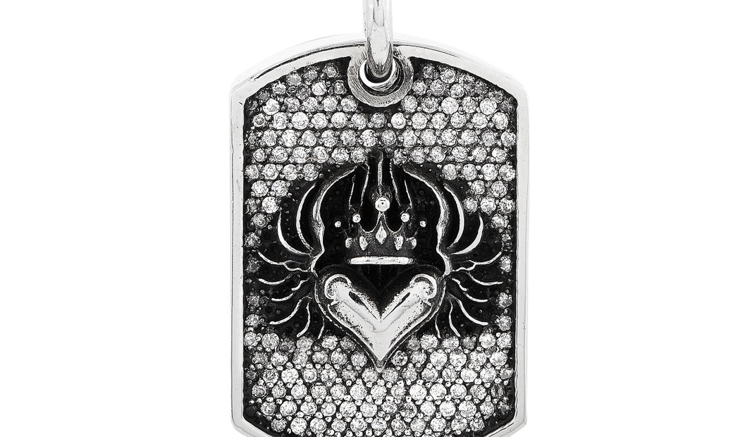 King Baby King Baby Silver and Diamond Small Chosen Heart Relic Dog Tag Pendant Necklace