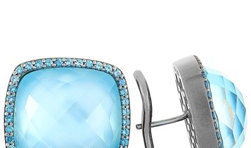 Roberto Coin Roberto Coin Black Rhodium-Plated and 18k White Gold Sapphire and Topaz Earrings