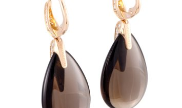 Chimento  Chimento Elisir 18K Rose Gold Diamond Pave and Smoky Quartz Cabochon Teardrop Lever Back E