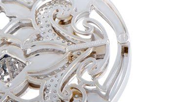 Nouvelle Bague Nouvelle Bague 18K White Gold Diamond Pave and Black Enamel Round Pendant Long Neckla