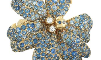 Gucci Gucci Flora 18K Yellow Gold Diamond and Blue Sapphire Orchid Ring