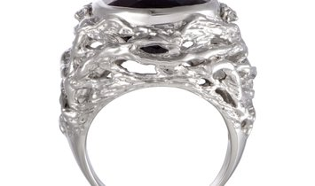Non Branded Platinum Diamond and Pear Shaped Garnet Cocktail Ring