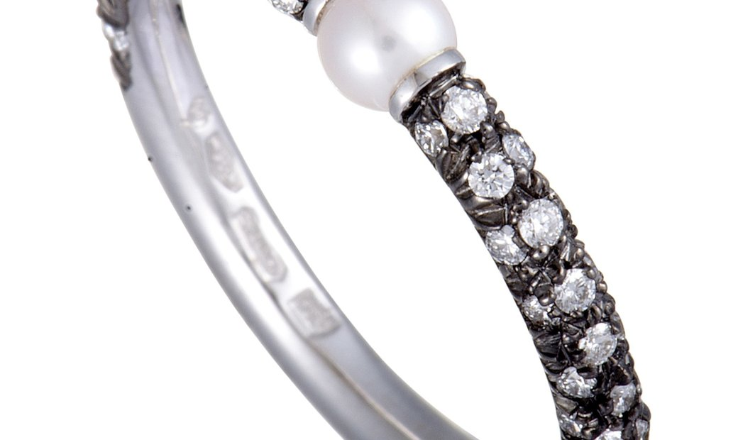 Mikimoto Mikimoto 18K White Gold and Black Rhodium Diamond and 3.0-3.5mm Akoya Pearl Band Ring