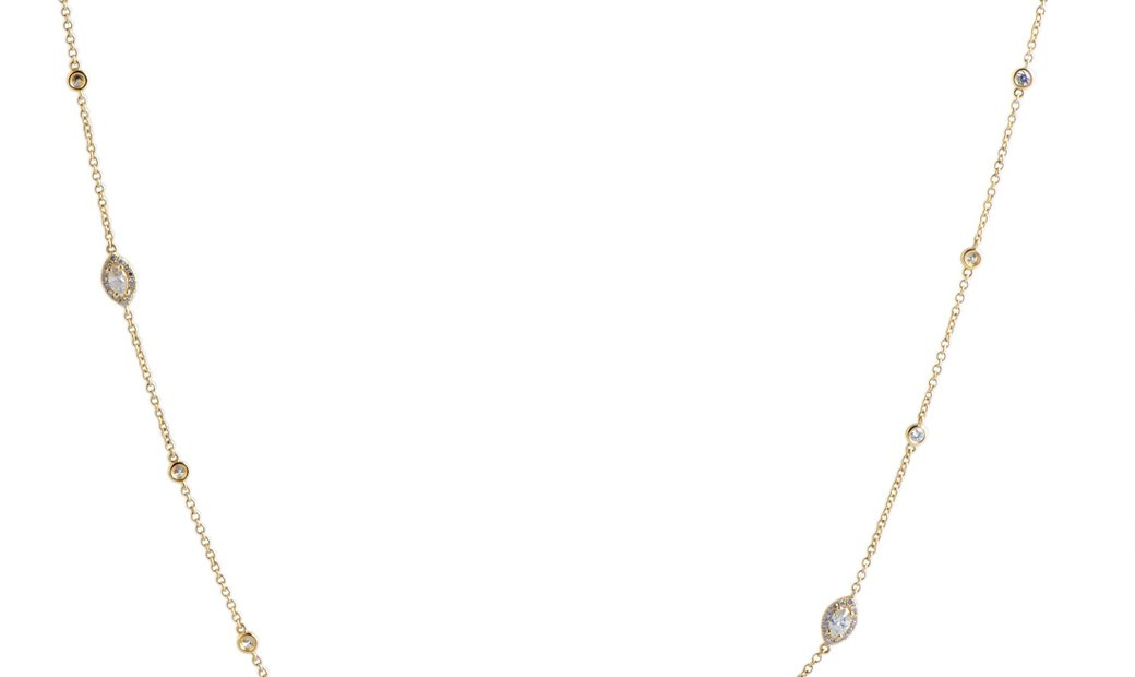 LB Exclusive LB Exclusive 18K Yellow Gold Round and Marquise Diamonds Long Sautoir Necklace
