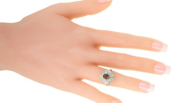 Non Branded Platinum Round and Tapered Baguette Diamonds Mounting Ring