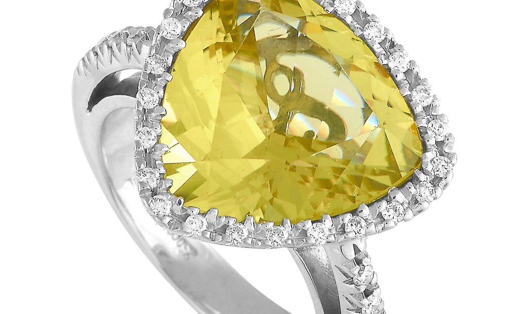 Zoccai Zoccai 18K White Gold 0.45 ct Diamond and Lemon Quartz Ring