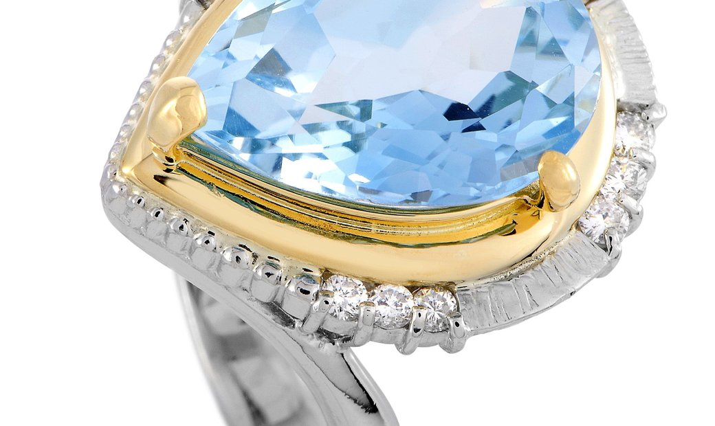 LB Exclusive LB Exclusive Platinum and 18K Yellow Gold Diamond and Topaz Ring