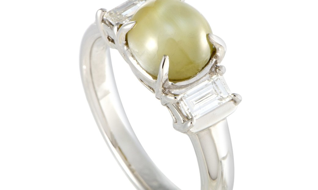 Non Branded Platinum Diamond and Cat's Eye Cabochon Ring