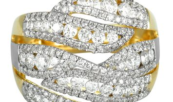 Non Branded 14K Yellow and White Gold Diamond Split Ring