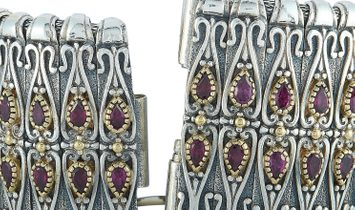 Konstantino Konstantino 18K Yellow Gold and Sterling Silver Rhodolite Bracelet