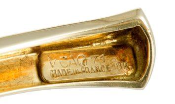 Van Cleef & Arpels Van Cleef & Arpels Vintage 18K Yellow Gold Diamond and Coral Bangle Bracelet