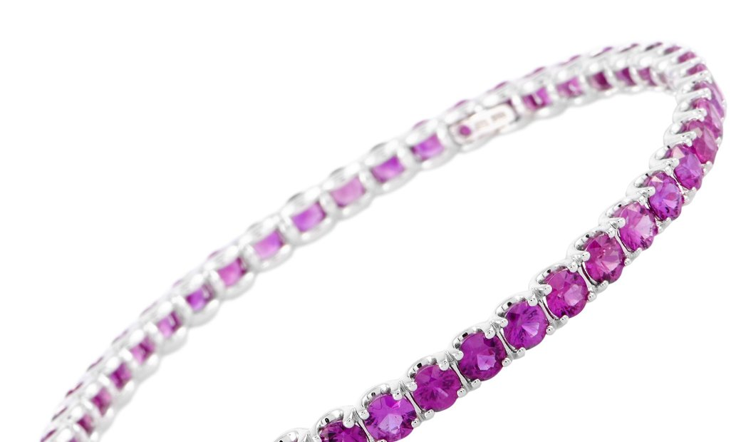 Roberto Coin Roberto Coin 18K White Gold and Pink Sapphire Bangle Bracelet