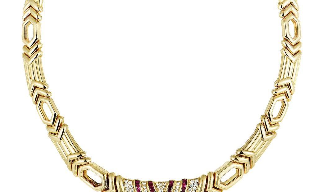 Boucheron Boucheron 18K Yellow Gold Diamond Pave and Ruby Collar Necklace