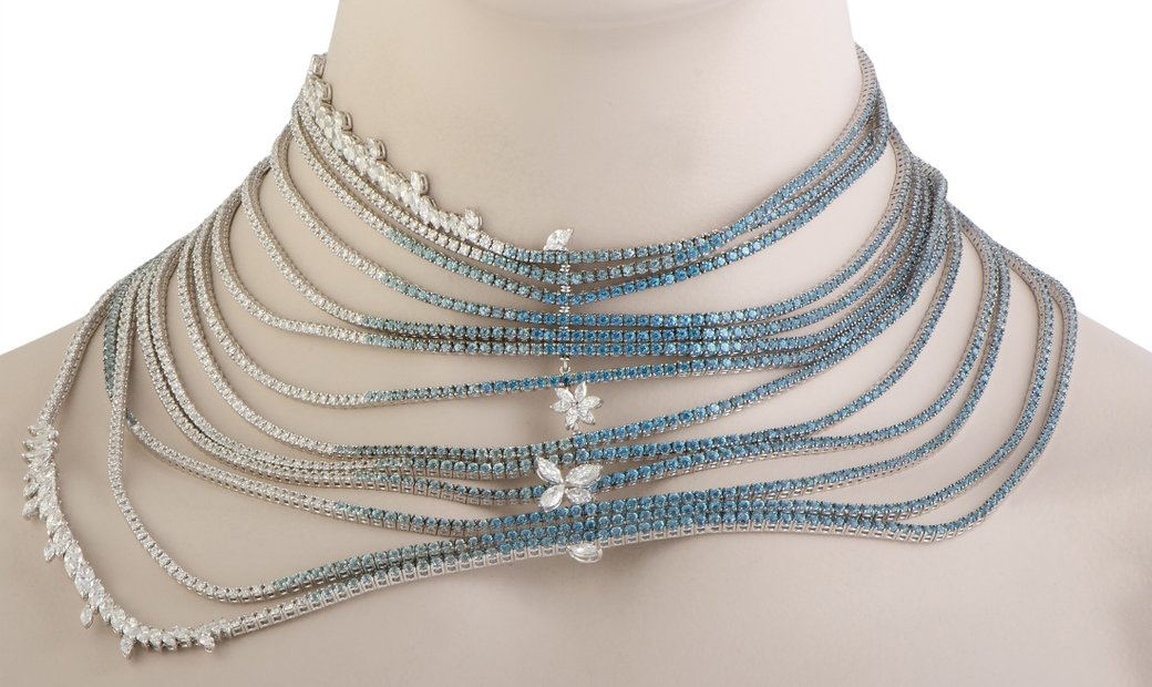 Stefan Hafner Stefan Hafner 18K White Gold Diamond Aquamarine and Topaz 13 String Drapery Collar Nec