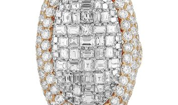 LB Exclusive LB Exclusive 18K Rose Gold Round and Square Diamond Cocktail Ring