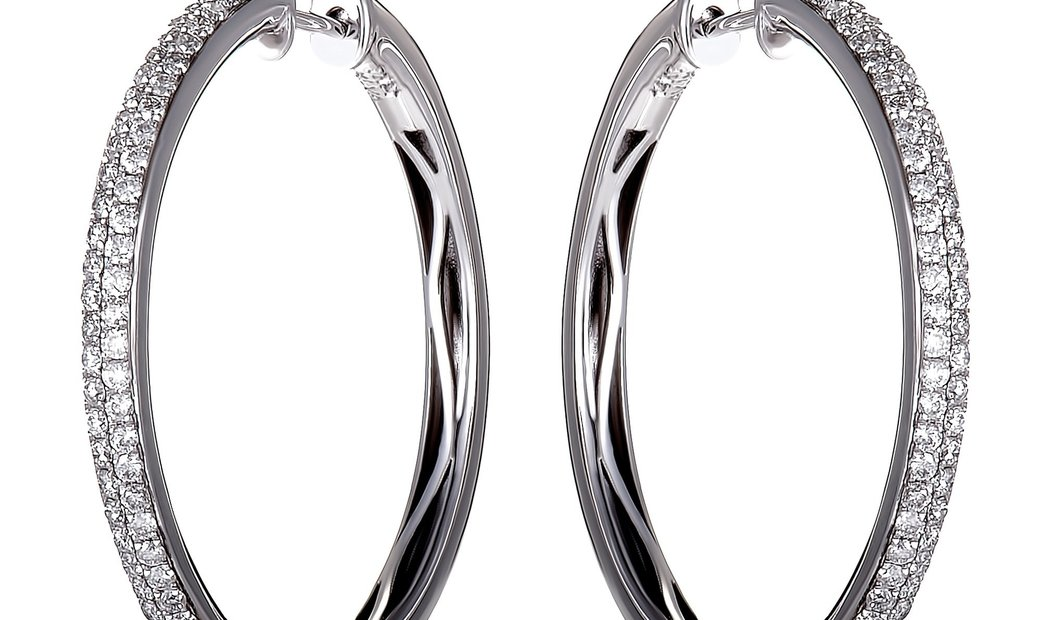 LB Exclusive LB Exclusive 1ct 14K White Gold Diamond Pave Round Hoop Earrings