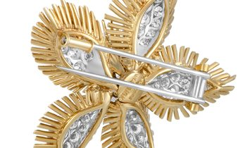 David Webb David Webb 18K Yellow Gold and Platinum Diamond Pave Flower Brooch