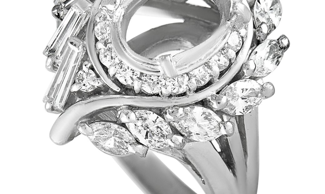Non Branded Platinum and Round,Baguette, and Marquise Diamonds Oval Mounting Ring