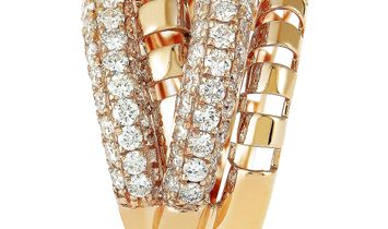 LB Exclusive LB Exclusive 18K Rose Gold Diamond Pave Multi-Band Ring