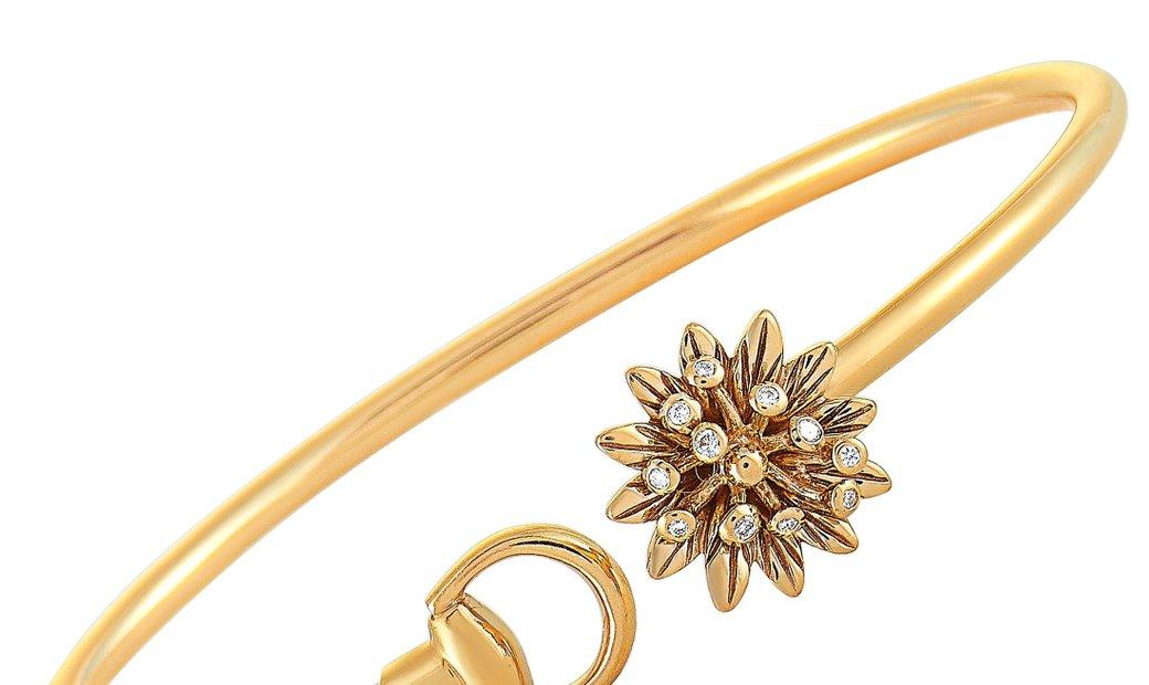Gucci Gucci Flora 18K Rose Gold and Diamond Flower Motif Bracelet Size 16