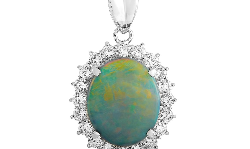 LB Exclusive LB Exclusive Platinum 1.34 ct Diamond and Black Opal Necklace