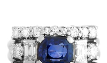 LB Exclusive LB Exclusive Platinum 1.27 ct Diamond and Sapphire Ring