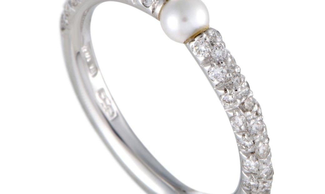 Mikimoto Mikimoto 18K White Gold Diamond and 3.0-3.5mm Akoya Pearl Band Ring