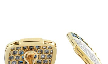 LB Exclusive LB Exclusive 18K Yellow Gold 3.50 ct Diamond and Sapphire Earrings