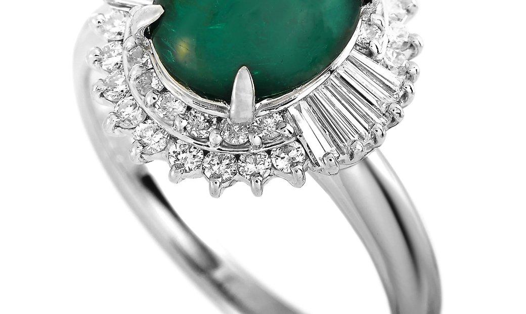 LB Exclusive LB Exclusive Platinum 0.83 ct Diamond and Emerald Ring