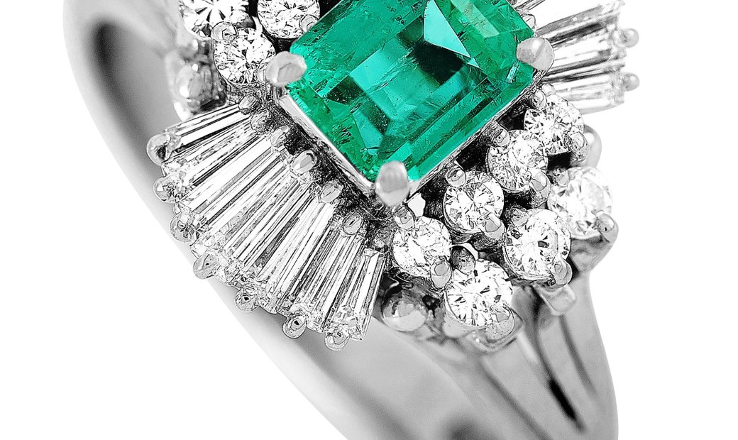 LB Exclusive LB Exclusive Platinum 0.62 ct Diamond and Emerald Ring