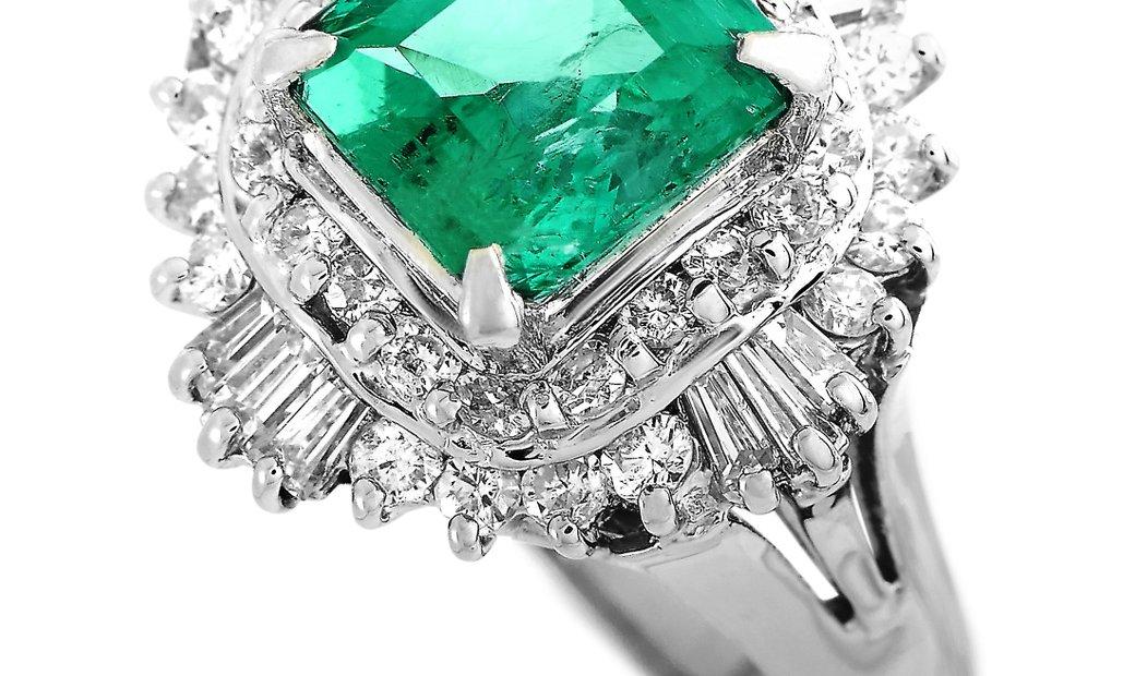 LB Exclusive LB Exclusive Platinum 0.70 ct Diamond and Emerald Ring