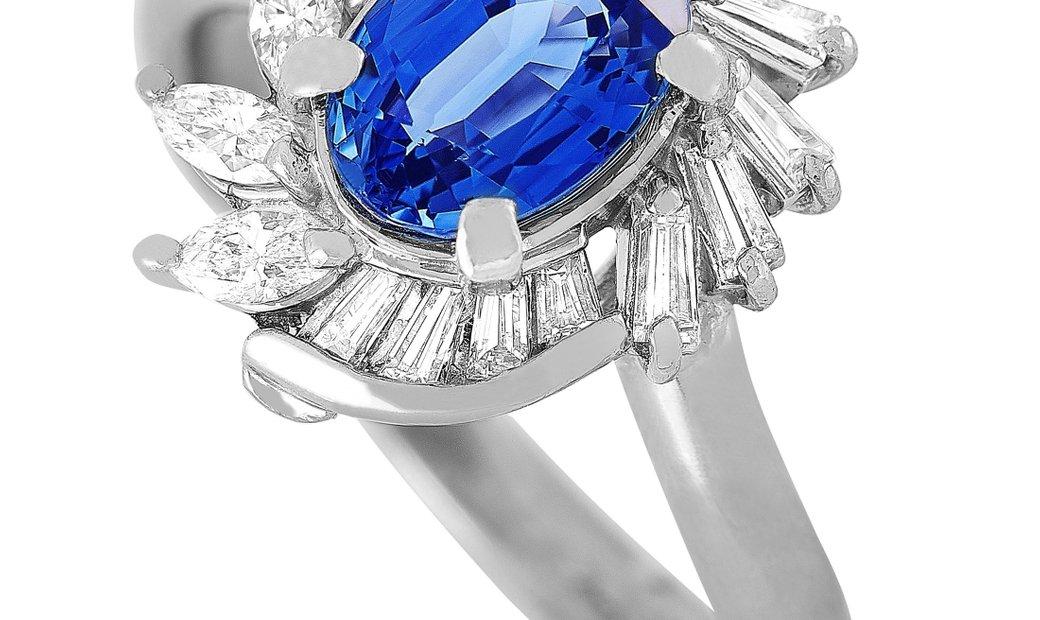 LB Exclusive LB Exclusive Platinum 0.55 ct Diamond and Sapphire Ring