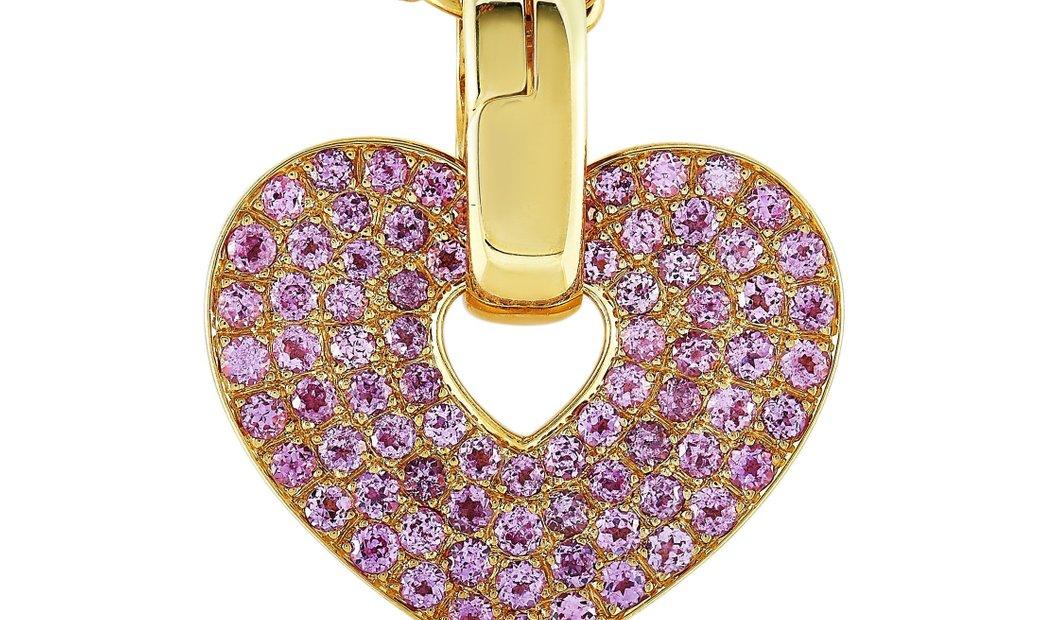 Poiray Poiray 18K Yellow Gold Pink Sapphire Heart Pendant Necklace