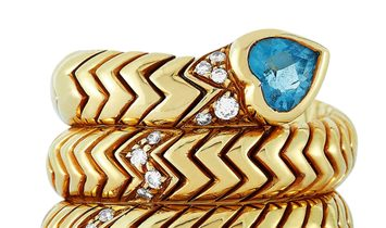 Bvlgari Bvlgari 18K Yellow Gold Diamond and Aquamarine Spiga Ring