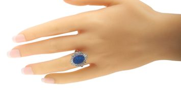 LB Exclusive LB Exclusive Platinum 0.79 ct Diamond and Black Opal Ring