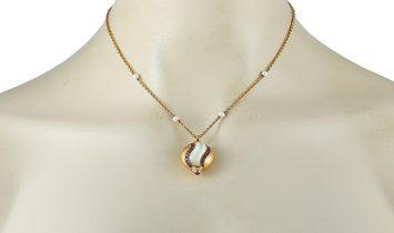 Faraone Mennella Faraone Mennella 18K Yellow Gold 0.20 ct Diamond, Ruby and Pearl Pendant Necklace