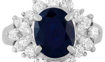 LB Exclusive LB Exclusive Platinum 1.14 ct Diamond and Sapphire Ring