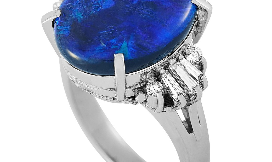 LB Exclusive LB Exclusive Platinum 0.36 ct Diamond and Opal Ring