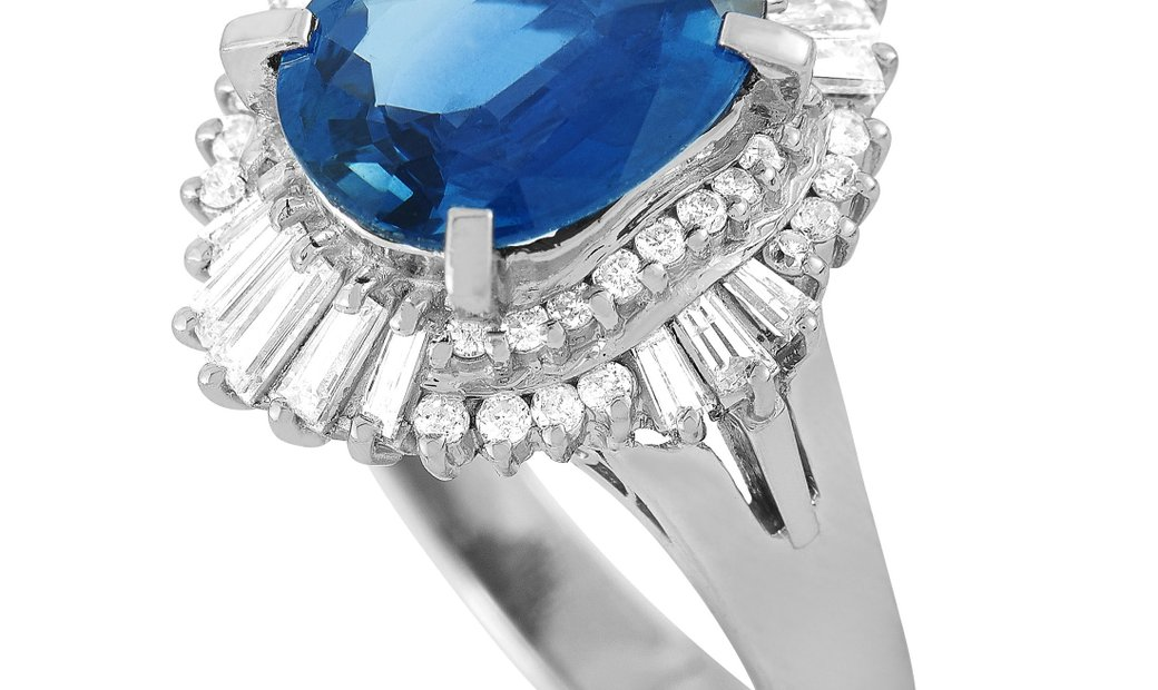 LB Exclusive LB Exclusive Platinum 0.74 ct Diamond and Sapphire Ring