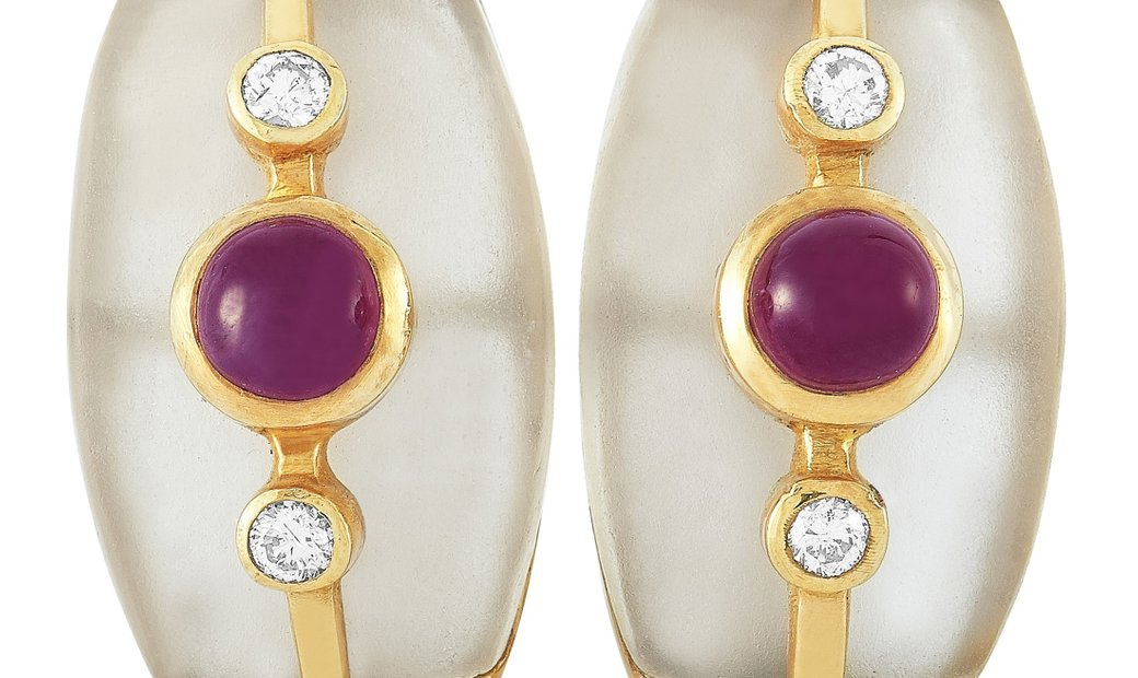 Ilias Lalaounis Ilias Lalaounis 18K Yellow Gold Diamond, Ruby and Crystal Earrings