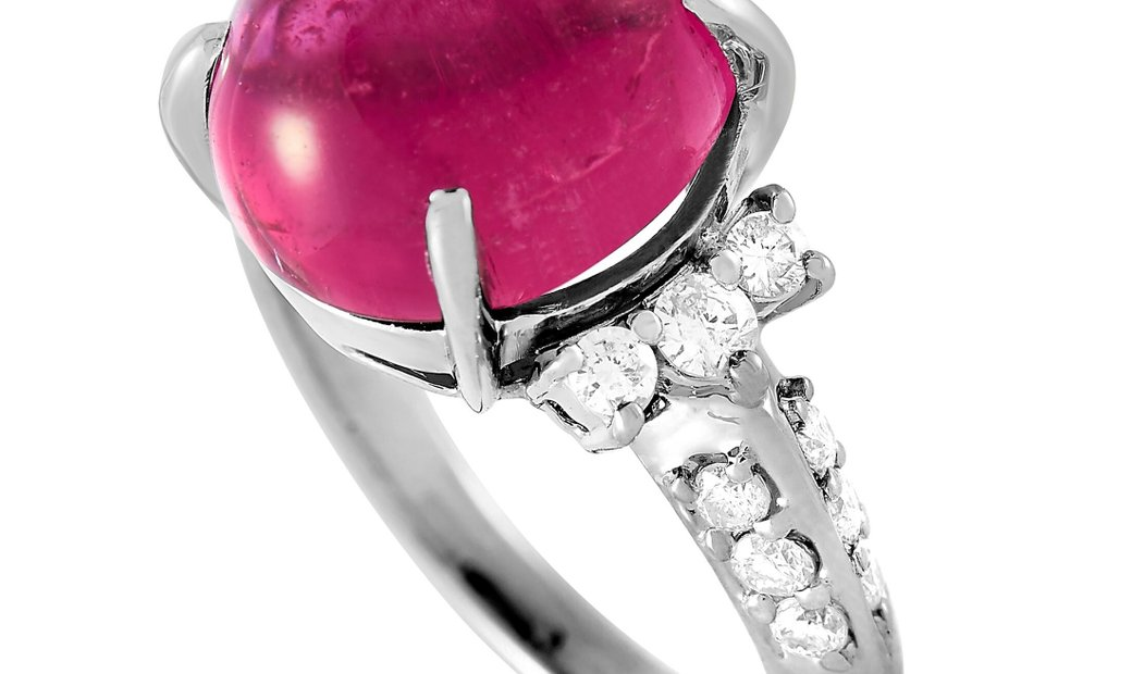 LB Exclusive LB Exclusive Platinum 0.50 ct Diamond and Tourmaline Ring