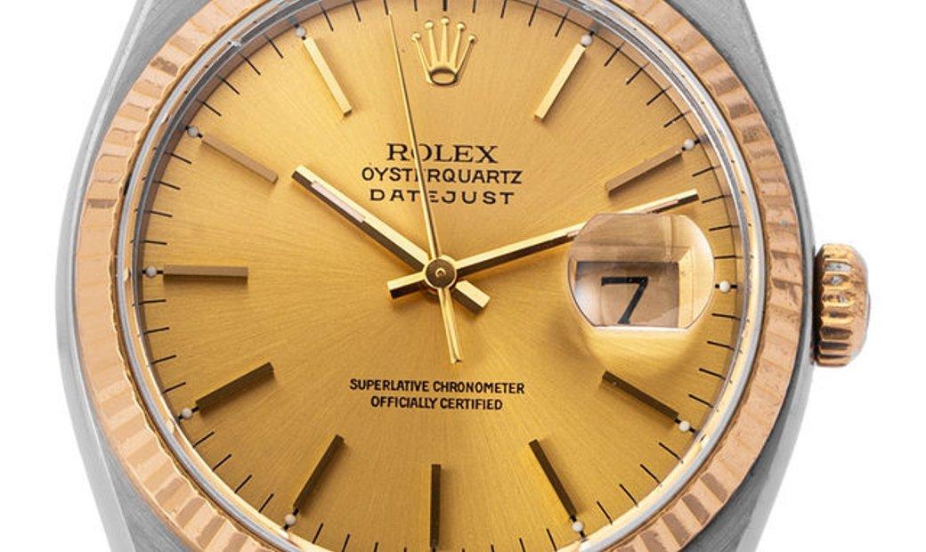 Rolex Oysterquartz Datejust 17013, Baton, 2002, Used, Case material Steel, Bracelet mat