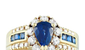 LB Exclusive LB Exclusive 18K Yellow Gold 0.82 ct Diamond and Sapphire Ring