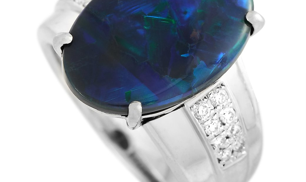 LB Exclusive LB Exclusive Platinum 0.15 ct Diamond and Opal Ring