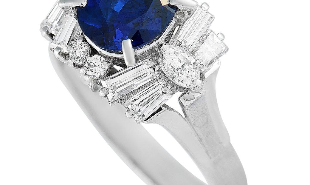 LB Exclusive LB Exclusive Platinum 0.96 ct Diamond and Sapphire Ring