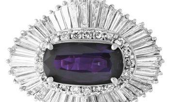 LB Exclusive LB Exclusive Platinum 2.62 ct Diamond and Purple Sapphire Ring