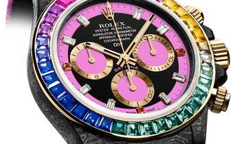 "Rolex DiW [LIMITED 3 PIECE] NTPT Carbon Daytona ""RAINBOW PINK"" (Retail:US$77,990)"