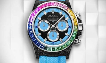 "Rolex DiW [LIMITED 3 PIECE] NTPT Carbon Daytona ""RAINBOW BLUE"" (Retail:US$77,990)"