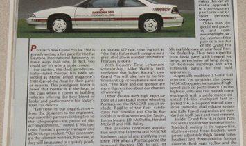 1988 Pontiac Grand Prix Pace Car