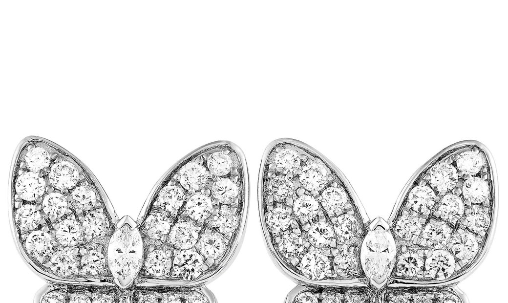 LB Exclusive LB Exclusive 18K White Gold 1.58 ct Diamond Butterfly Earrings